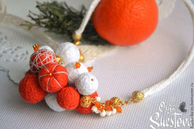 """Купить """"Мандариновое настроение"""" Колье из ниток - рыжий, оранжевый, оранжевое настроение, мандарин, мандариновый"""