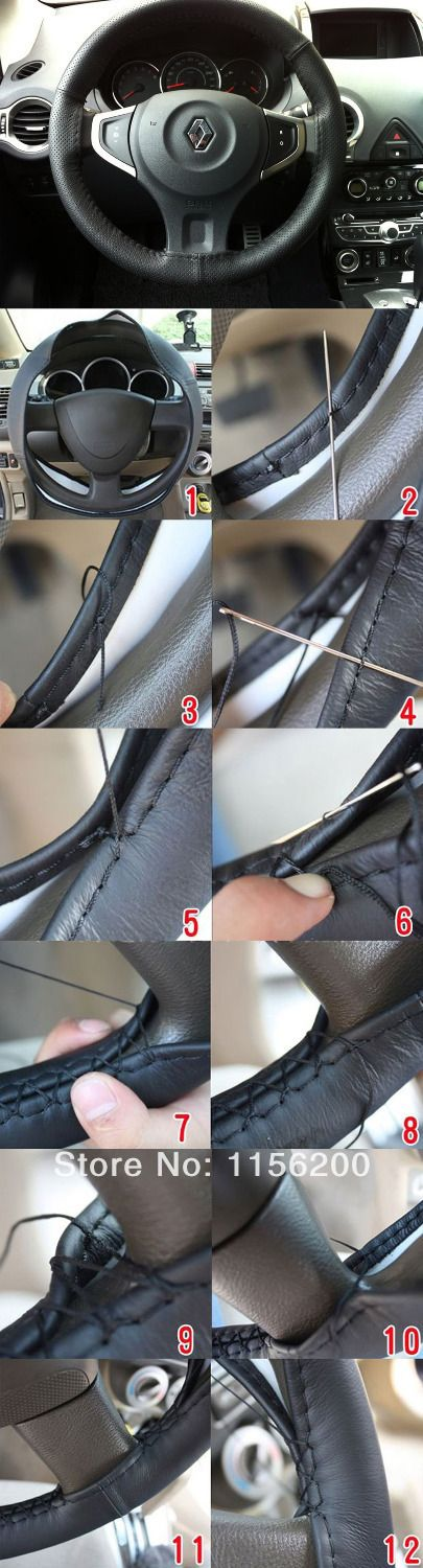 Leather Steering Wheel Cover DIY With Needle & Thread Black Size L $7.39