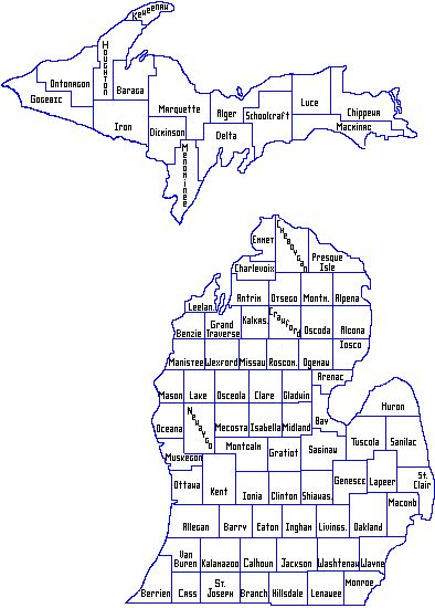 http://www.michigan.gov/images/mi_county_map_18492_7.gif Great Info on all the Counties in Michigan!