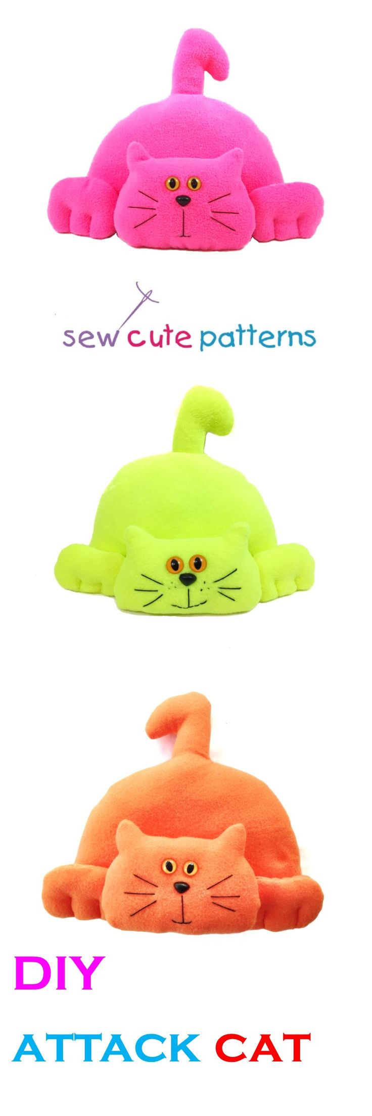 """Cat sewing pattern  This cute and easy pattern will show you how to make a plush attack cat in two sizes, 8"""" or 12"""".  Easy, beginner level pattern!  Create a plush toy or a cute doorstop.  Pattern includes instructions to create either one."""