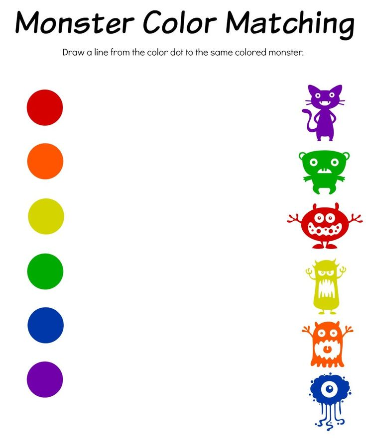Monster Color Matching Printable | Free printable ...