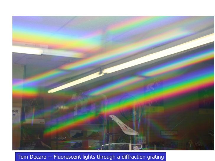 Tom Decaro -- Fluorescent lights through a diffraction grating