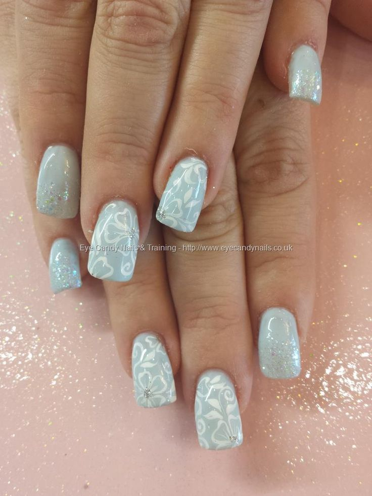 1490 best super fake and beautiful images on pinterest nail eye candy nails training powder blue 13 gel with glitter and white freehand nail art by elaine moore on 28 december 2013 at prinsesfo Images