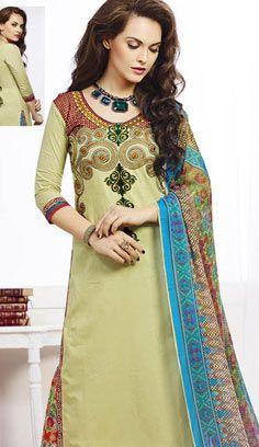 Beautiful Latest Pine Glade Chanderi Cotton Pakistani Suit