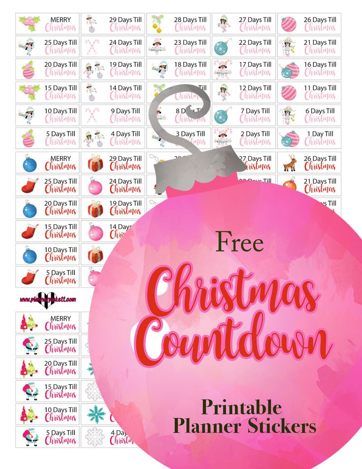 @plannerpickett : Free Christmas countdown calendar planner sticker printable
