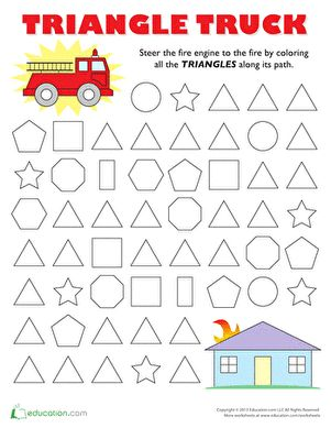 Preschool Shapes Mazes Worksheets: Follow the Triangle Maze