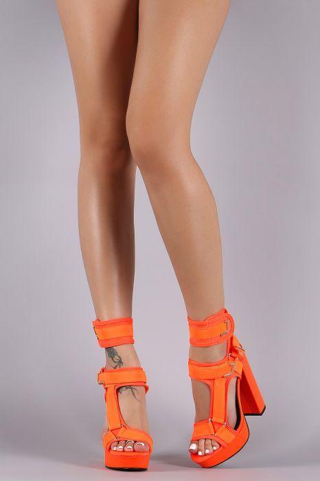 454b5eda2cf Strappy Elastane Harness Chunky Platform Heel