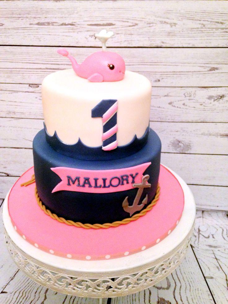 Nautical Girls First Birthday Cake, by Amy Hart