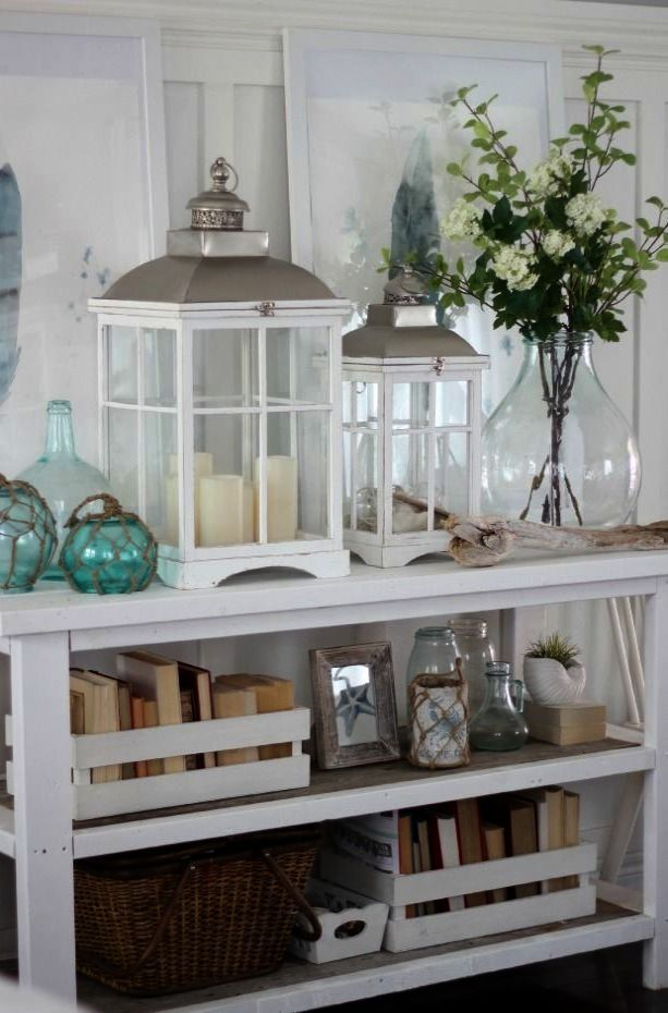 Coastal Style Media Console Interior Decorating Beach Cottage