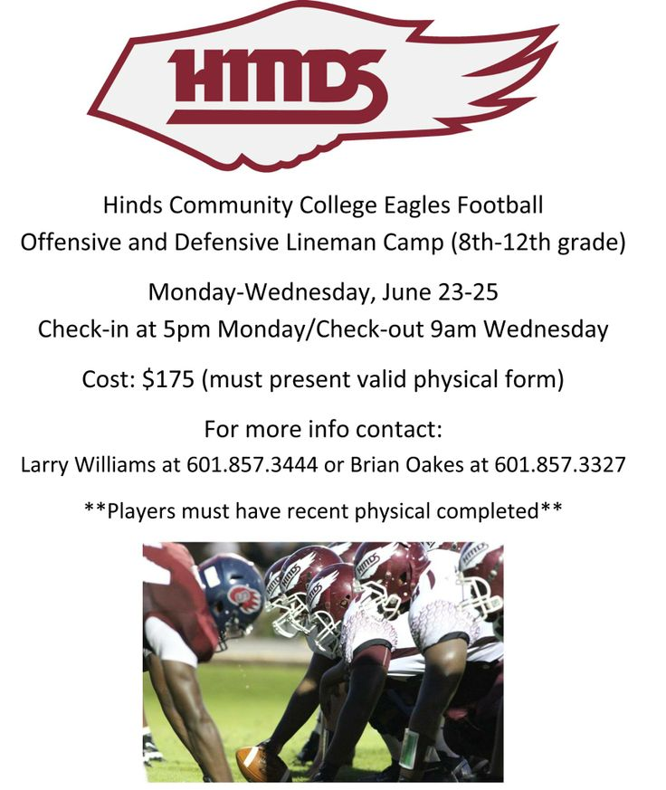 Hinds Eagles coaches will host high school O-Line D-Line team - school physical form