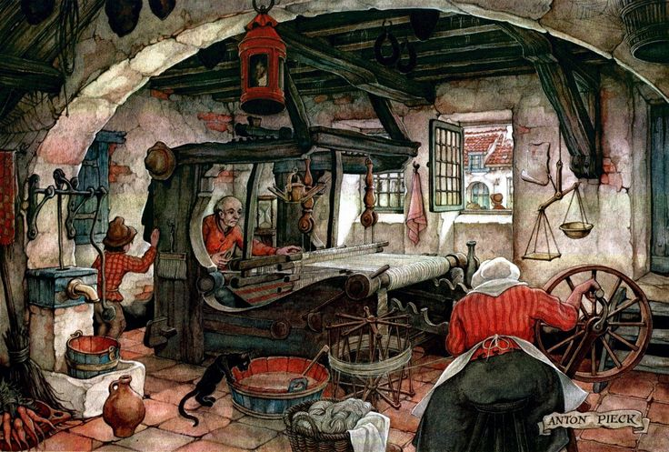 Spinning and Weaving - Anton Pieck, Dutch painter, artist and graphic artist.