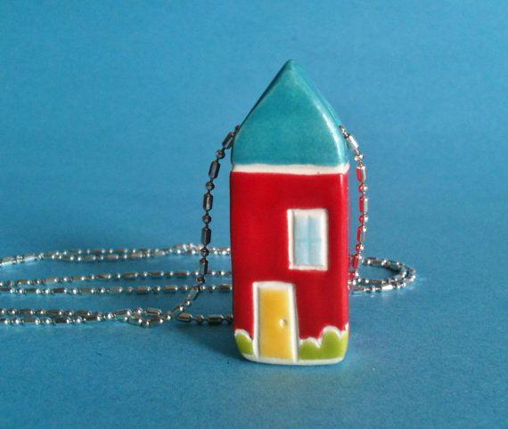 House Necklace Red Blue Garden Cottage Ceramic by thelittlereddoor