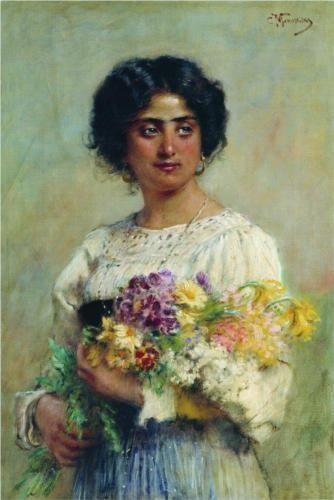 Girl with a bouquet  - Konstantin Makovsky