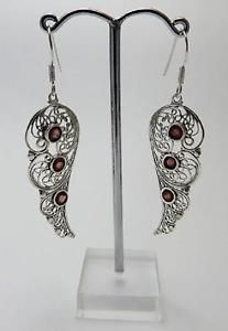 Beautiful-Sterling-silver-filigree-Faerie-Wing-fairy-Earrings-with-garnet-stones