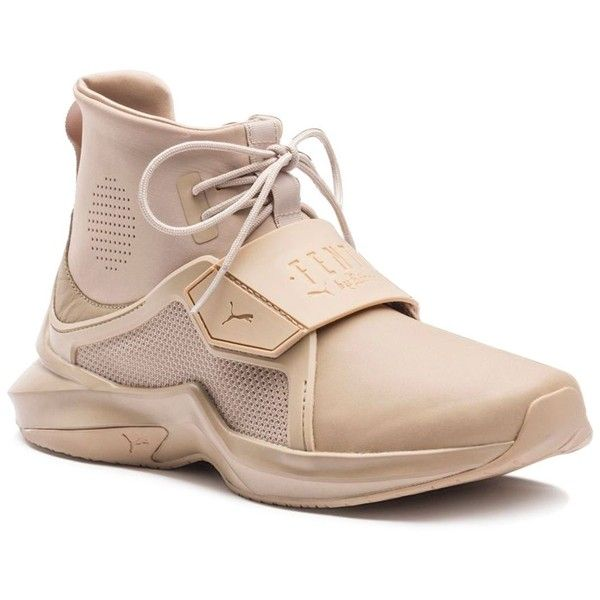 Fenty Puma x Rihanna Women's Trainer Hi Sneakers (€170) ❤ liked on Polyvore featuring shoes, sneakers, beige, beige shoes, puma footwear, neoprene shoes, rubber sole shoes and puma trainers