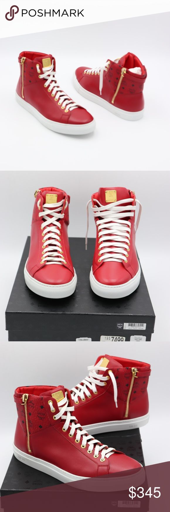 MCM Mens Red Visetos Leather Zip High-Top Sneakers NIB MCM Collection Visetos Leather Zip High Top Sneakers Brand New in original MCM box, 100% Guaranteed Authentic!! MFSRP: $495.00 +tax Size: 13 US / 46 EUR Expertly crafted in smooth red leather, the design offers superior flexibility and hardwearing construction as well as signature touches throughout. In the mix: Iconic Visetos print at the collar, an MCM plate on the tongue and a side zipper reinforced with a turnlock-fastening strap…