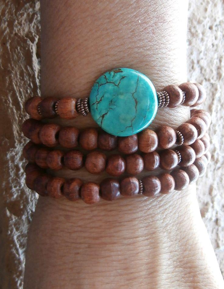 Inner Calm Basic Mala wrap or necklace with Turquoise Guru bead & Rosewood Yoga Bracelet, Reiki. free shipping. $32.00, via Etsy.
