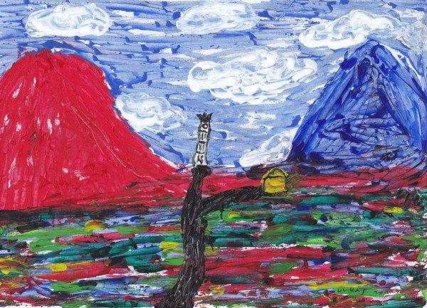 boy alkaf, di antara 2 gunung (lihat dengan cermin), 215 x 300 mm, acrylic on paper, 2011 (koleksi pribadi)