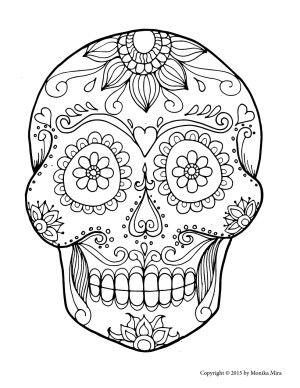 Free Printable Sugar Skull Coloring Pages for adults or kids. Dia de los muertos
