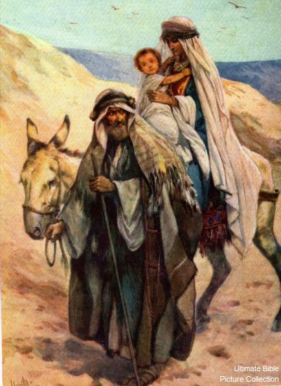 Matthew 2 Bible Pictures: Joseph, Mary, and Jesus in stable