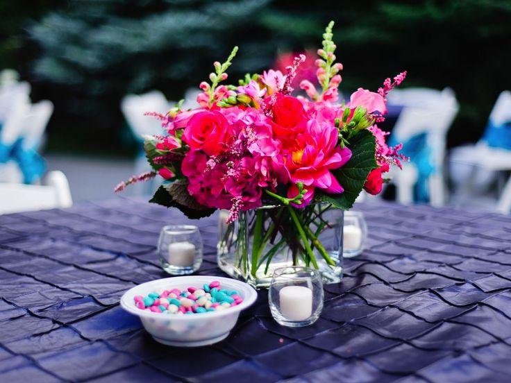 Hot pink fuchsia wedding centerpieces flowers utah