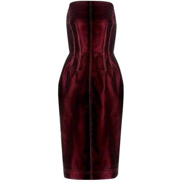 Tom Ford Velvet Strapless Dress (£3,645) ❤ liked on Polyvore featuring dresses, red, red strapless dress, red velvet dress, tom ford dresses, red dress and tom ford