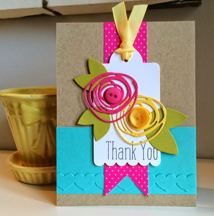 handmade thank you card from The Queen's Scene ... die cuts in bright colors on kraft card ... mod flower shapes .... heart border die cut placed tone on tone making great texture ... mod and pretty ...
