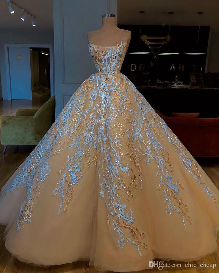 Champagne Lace 2019 African Marriage ceremony Attire Strapless Ball Robe Beaded Bridal Attire Classic Gorgeous Charming Marriage ceremony Robes
