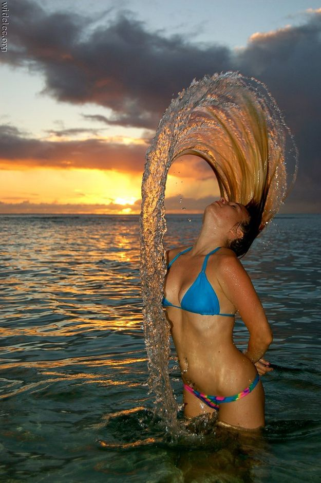 Hair flipping in the ocean.  Pretty epic. Pictures Exact Right Moment 15