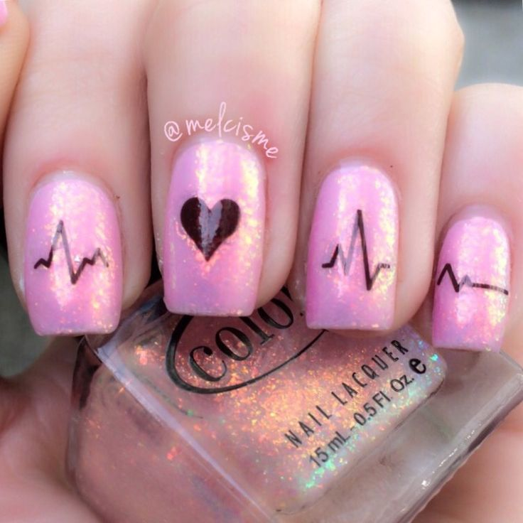 Heartbeat nails using NailedKit decals by Instagram user melcisme