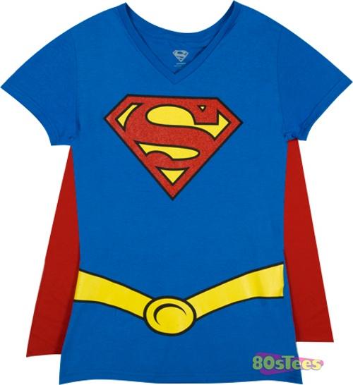 Ladies Superman Caped V-Neck Shirt