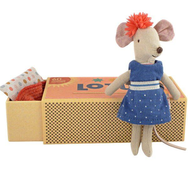 Maileg Big Sister Mouse in a Box, Blue Dress