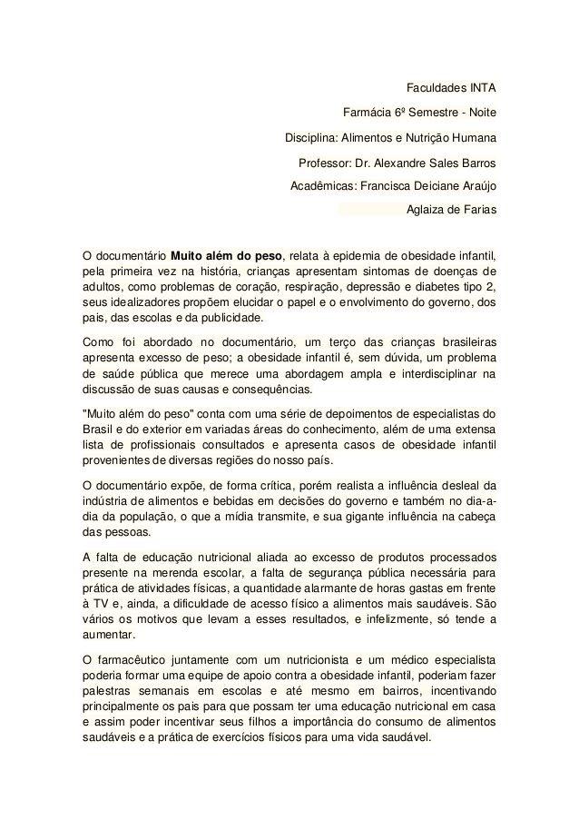 Faculdades INTA Farmácia 6º Semestre - Noite Disciplina: Alimentos e Nutrição Humana Professor: Dr. Alexandre Sales Barros...