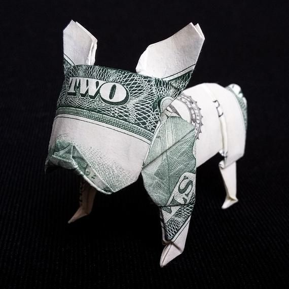 Real Two Dollar Bill Origami French BULLDOG Statue 3D Puppy Sculpture Paper Model Charm Art Gift Handmade Figurine Home Decor Money Origami