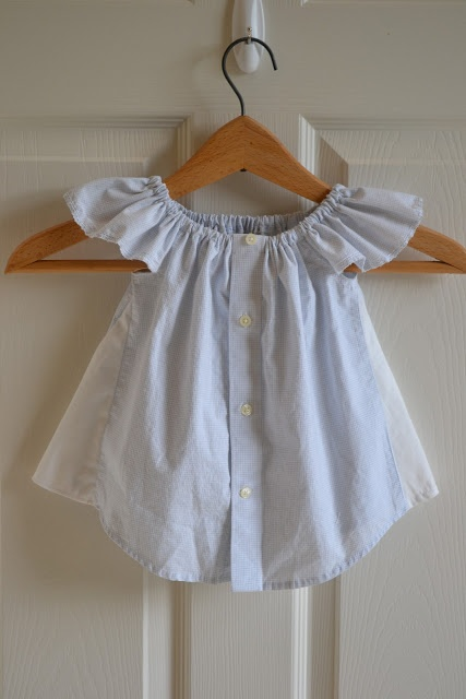 Little Quail: Recycled little boys shirt for a little girls blouse.