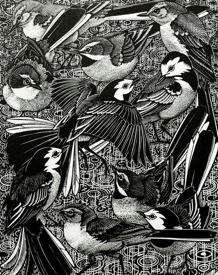 Графика чб птицы
