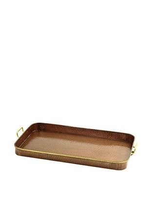 56% OFF Old Dutch International Oblong Tray with Cast Brass (Antique Copper)