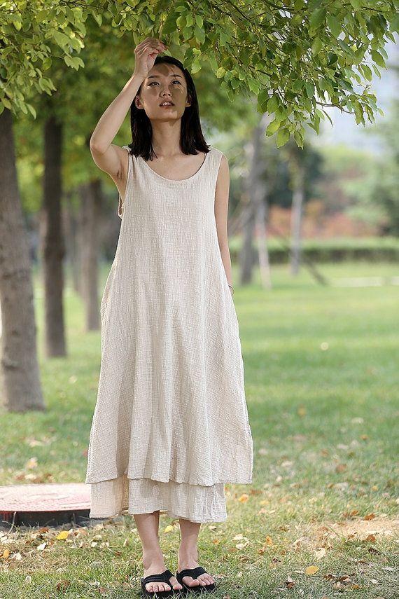 cream linen dress maxi dress women dress casual dress cf036