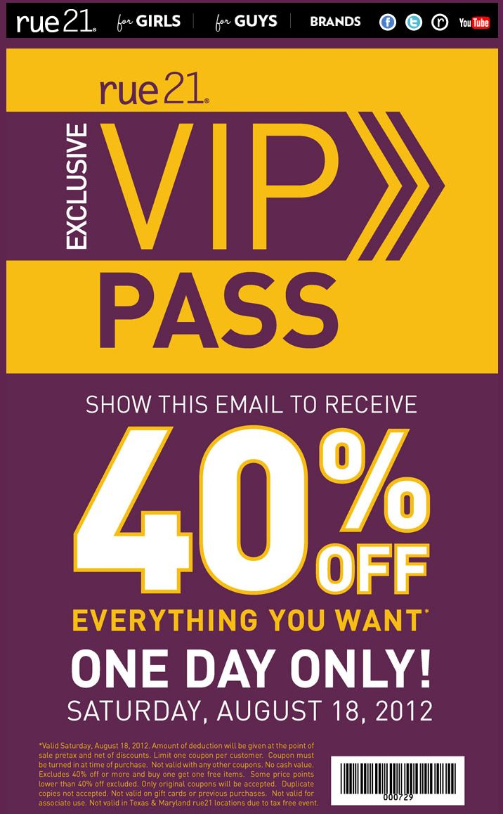40 off everything saturday at rue21 coupon via the coupons app