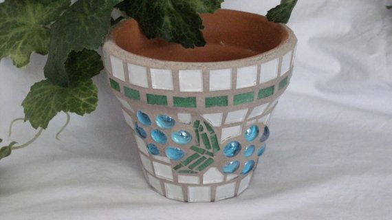 New Terracotta Handmade Mosaic Flower Pot/Planter by NKRNmosaics, $20.00 SOLD