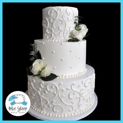 Filigree Buttercream Wedding Cake With Roses – Blue Sheep Bake Shop
