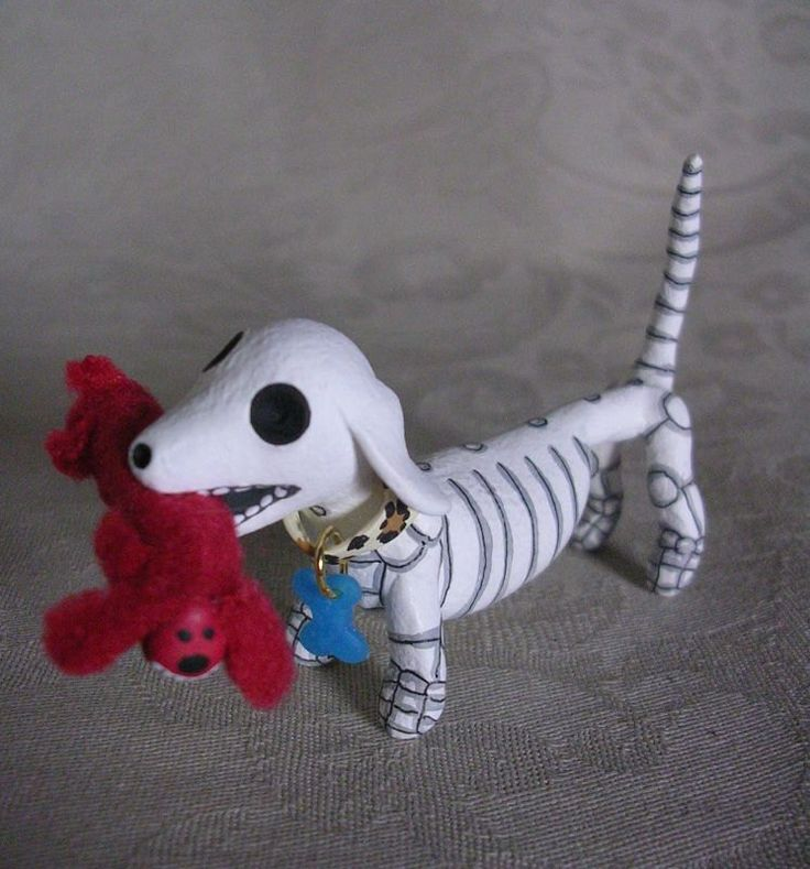 image of dauchshund skeleton | Day of the Dead Dachshund Weenie Dog Skeleton by ClayLindo on Etsy