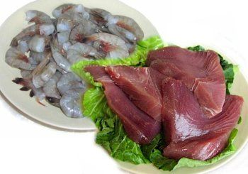 2 lbs. Big Eye Tuna 2 lbs. Jumbo Shrimp Always Fresh, Never Frozen 2 lbs. Big Eye Tuna Steaks and 2 lbs. Jumbo Shrimp