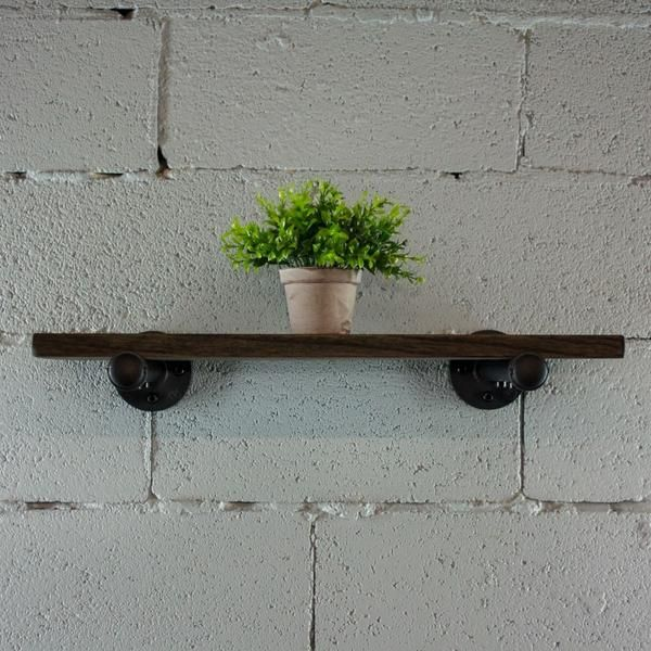 Industrial Vintage Wood Finish Wall Mounted Shelf In 2020 Wall Shelf Decor Wood Bookshelves Wall Mounted Shelves
