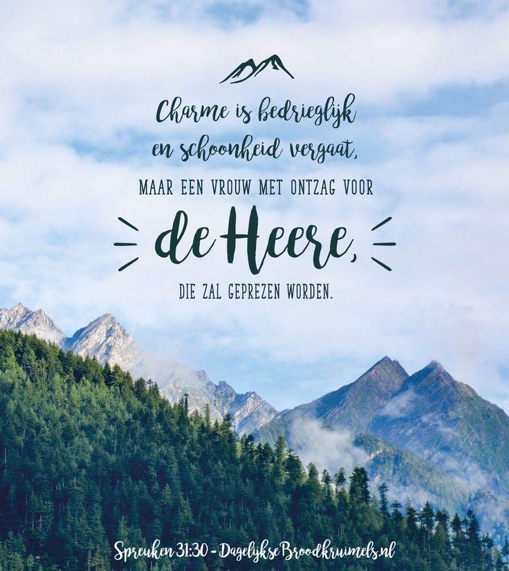 Spreuken 31:30 Charme is bedrieglijk en schoonheid vergaat, maar een vrouw met ontzag voor de Heere, die zal geprezen worden. Spreuken 31:30  #KindVanGod, #Vrouw  https://www.dagelijksebroodkruimels.nl/spreuken-31-30/