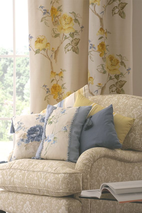 yellow and blue curtains images | heather ross | made to measure curtains, blinds, upholstery and ...