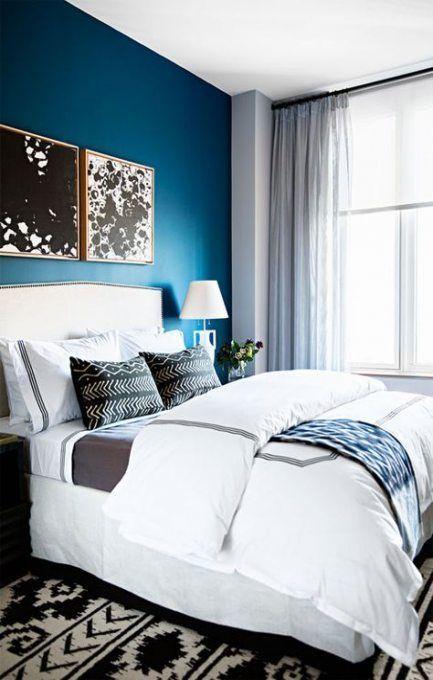 Schlafzimmer grau weiß blaugrün Vorhänge 61 Ideen in 2020