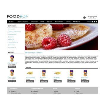 Foodshop | J'aime bien le positionnement simple et la présence d'une bannière principale. Les catégories sont sur le côté et les spéciaux sont bien visibles | Demo: http://www.opencarttemplates.org/demo/foodshop/ | Prix: 20$
