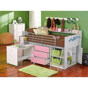 Charleston+Storage+Loft+Bed+With+Desk,+White+and+Pink