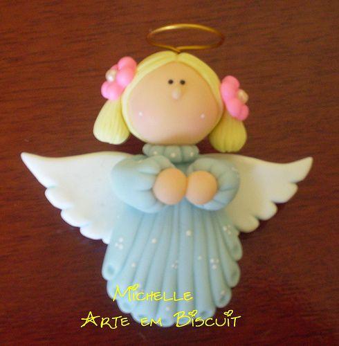 Angel cake topper /Michelle Arte em Biscuit